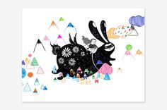 """Riding on bunny - Art Print 8"""" x 10"""" 