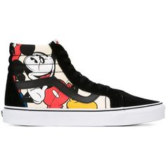 Vans Disney SK8-Hi Reissue Sneakers ($97) ❤ liked on Polyvore featuring shoes, sneakers, black, vans footwear, vans sneakers, leather trainers, colorful shoes and multi colored shoes