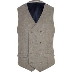 Make a polished impression in this classic light oatmeal-brown tweed double breasted vest. Featuring button fastening, handkerchief pocket and two flap over pockets. Double Breasted Waistcoat, Men's Waistcoat, Mens Suit Vest, Mens Suits, Urban Fashion, Mens Fashion, Fashion Outfits, River Island Fashion, Skinny Suits
