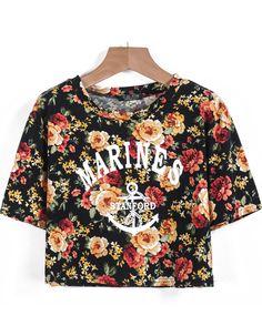 T-Shirt court motif lettres -Noir  EUR€11.17