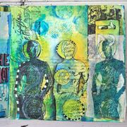 Pam Carriker journal page made with Dina Wakley stamps.