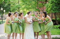 apple green bridesmaid dresses, peony, purple rose bouquet, gerbera daisies #mintgreendress #bridesmaidbouquet #fleurtaciousdesigns -Casey Connell Photography