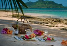 The ultimate in beach picnics complete with china and crystal!  Fruit, cheese, seafood, and chocolate!  The best!