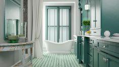 BEST bathroom color Ideas, paint, and color schemes for small bathroom, medium, or large bathroom. Green Bathroom Colors, Mint Green Bathrooms, Lavender Bathroom, Green Bathrooms Designs, Brown Bathroom, Retro Bathroom Decor, Bathroom Mirror Design, Classic Bathroom, Vintage Bathrooms