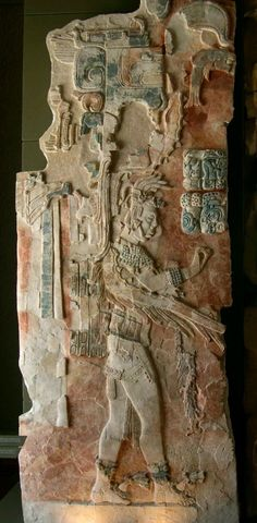A painted stucco relief in the museum at Palenque, a Maya ruin in Chiapas, Mexico, from one of the recently excavated buildings. It shows U Pakal K´inich, who ascended to the throne of Palenque between 736 and 742 AD Ancient Mysteries, Ancient Ruins, Ancient Artifacts, Ancient History, Mayan Ruins, Maya Civilization, Art Ancien, Inka, Ancient Civilizations