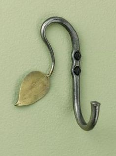 Hand-Forged Recycled Steel Leaf Hook - eclectic - hooks and hangers - GAIAM