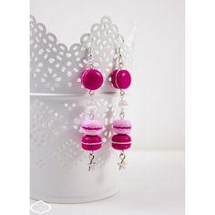 """Boucles d'oreilles """"Mes 3 Macarons"""" framboise Bijoux gourmands A l'heure du goûter®. www.a-l-heure-du-gouter.com *Modèles déposés à l'INPI*"""