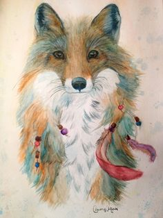 Feather Fox Art Print