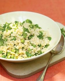 Steeped in aromatics and studded with peas, this grain-and-veggie combo is more substantial than a typical side.