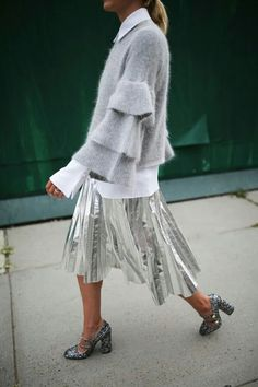 Silver Metallic Pleated Midi Skirt and Layered Bell Sleeve Sweater