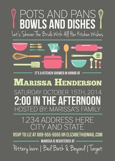 Kitchen Shower Bridal Invitation Pots And Pans Bowls Dishes Stock The