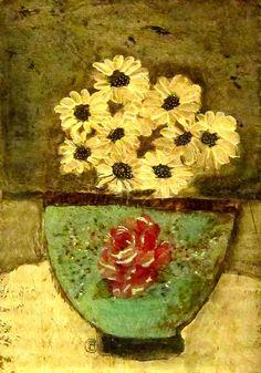 folk art flower vase painting