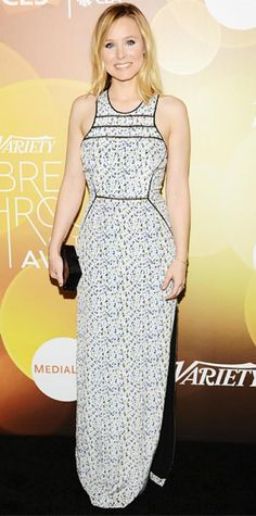 Look of the Day › January 12, 2014 WHAT SHE WORE At the 2014 Variety Breakthrough of the Year Awards, Bell wore a pale floral-print gown with bold sculpted lines, keeping other accessories to a minimum, save for a black boxed Edie Parker clutch.
