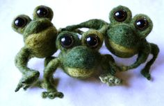 Needle Felted Frog, Needle Felted Animals, Poseable Frog Statue, Frog Soft Sculpture. $49.00, via Etsy.