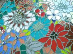 Mosaic Table  Chips like petals into flowers.