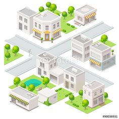 Vector: City  isometric buildings. Set of the vector elements