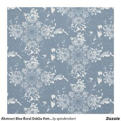 Abstract Blue floral Dahlia Pattern Fabric
