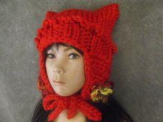 OOAK Red Knit  Toddler Kitty Kat Hat/ Crochet Earflaps, Ties and OOAK Corespun Yarn Trim/Elfin Hat Ready to Ship