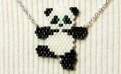 Cute Dancing Panda Necklace Seed Bead Animal Jewelry by BeadCrumbs