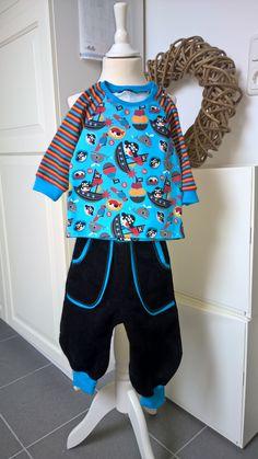 Hose Frida mit Longsleeve aus Jersey (diesmal blaues Bündchen)