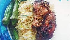 26dabe203 Easy Jerk Chicken Wings served with Coconut Quinoa and Okra - Hopscotch Mom