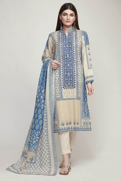 KHAADI Lawn Master Replica 2019 Fabric: Lawn Embroidered Neck Printed Lawn Shirt Front Printed Lawn Shirt Back Printed Lawn Sleeves Printed Chiffon Dupatta Plain Lawn Trousers Included KHAADI Lawn Master Replica 2019 Pakistani Fashion Casual, Pakistani Dresses Casual, Pakistani Dress Design, Indian Fashion, Stylish Dress Designs, Stylish Dresses, Women's Fashion Dresses, Casual Dresses, Simple Dresses