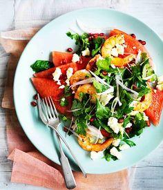 Australian Gourmet Traveller recipe for watermelon, Persian feta, prawn and herb salad.