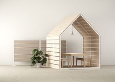 inspired by the winter environment ofswedish lapland, the little houses and space dividers are semi-transparent, yet soundproof.