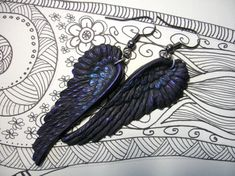 Black as Night Oil Slick raven wings crow by KiraSlyeDesigns, $12.00
