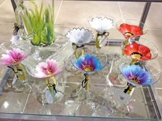 Hand Painted Martini Glasses Poppie Fields by UglyDucklingBeads, $18.00