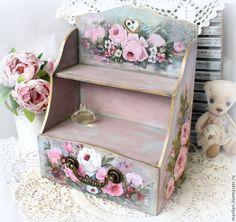"""Купить Комодик """"Садовые розы"""" - разноцветный, розы, полочка, комод, комодик для украшений, полочка для специй"""