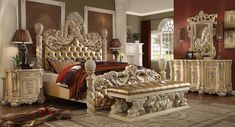 Magnifico 6 Piece Bedroom Set in Antique White Finish by Homey ...
