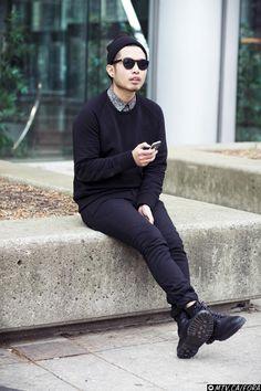 winter , black sweater , button up , black jeans , dr. martens , beanie