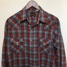Vintage plaid western shirt rust gold by twinflamesboutique