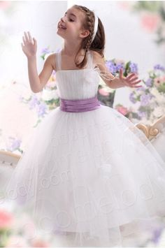 A Line Straps Floor Length Tulle Ivory Girls Formal Dress CKZA13008 #cocomelody