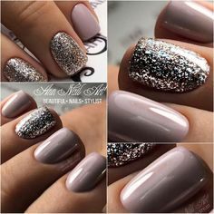 What manicure for what kind of nails? - My Nails Fabulous Nails, Gorgeous Nails, Pretty Nails, Perfect Nails, Mauve Nails, Glitter Nails, Silver Glitter, Shellac Nails Fall, Acrylic Nails With Glitter