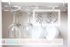 8 Clutter Problems Solved by Shower Rings - Add rings to your glass rack to hold coffee cups