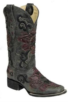 Corral Women's Black Crater Wine Inlay Cowgirl Boots - Square Toe