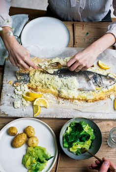 This delicious recipe from The Borough Market Cookbook instructs in the art of making flavourful and tender lemon and herb-flavoured salt-baked seabass. Flavoured Salt, Baked Sea Bass, Kitchen Witch, Fresh Rolls, Main Dishes, Lemon, Herbs, Yummy Food, Baking