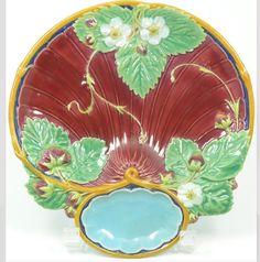 Rare Minton brown-ground Majolica Strawberry Plate