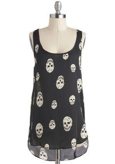 Skull-lastic Looks Top - Black, Casual, Urban, Sleeveless, Sheer, Novelty Print, Mid-length, Scoop, Summer, Halloween, Black, Sleeveless, Festival, Good
