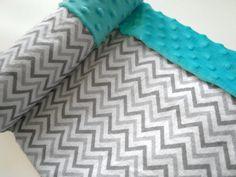 Minky Baby Blanket  Leak Proof  Aqua/Grey by BabySquishyCheeks, $14.95