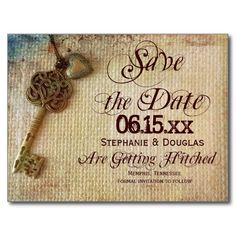 Vintage Heart Key Burlap Save the Date Postcards #wedding