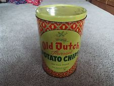 Vintage Old Dutch Potato Chip Tin  11.5 x 7.5