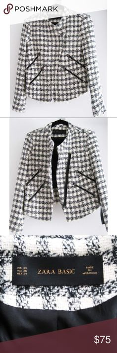 "NWT Zara Tweed Checkered Moto Jacket Size XS A black & white checkered tweed moto jacket with an asymmetrical center front zip closure. Features 4 front diagonal zip pockets, 1 zipper on each back sleeve, and frayed details on the shoulder and back. Fully lined. New with tags, never worn. Smoke/pet-free home. Please msg me w/any questions your may have on this item prior to purchasing!  Measurements:  Across Shoulder (ah seam to ah seam): 16"" Bust Circum (1"" blw ah): 36"" Waist Circum (6"" blw…"