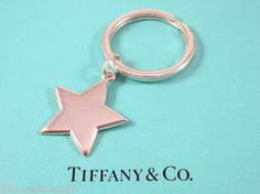Tiffany & Co. Fine Authentic Key Chain Ring Star Charm Sterling Silver 925