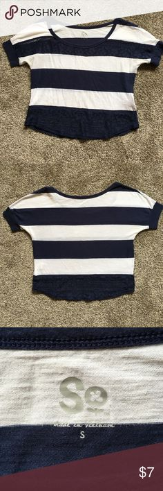 Striped Crop Top Navy and white striped crop top with lace. Super cute and only worn a few times! Size Small. Tops Crop Tops