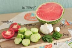 Sunday Bites: Watermelon Gazpacho – Train Hard Live Clean Vegan Vegetarian, Paleo, Tomato Seeds, Gazpacho, Train Hard, Clean Eating Recipes, Cucumber, Watermelon, Sunday