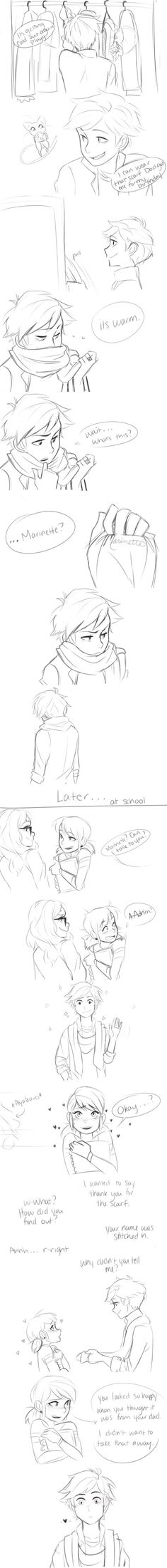 Marinette is so sweet! And i think that Adrien just figured it out! Miraculous Ladybug Fanfiction, Miraculous Ladybug Fan Art, Meraculous Ladybug, Ladybug Comics, Lady Bug, Cn Fanart, Marinette Et Adrien, Ladybug Und Cat Noir, Kevedd