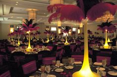Ostrich Feather Centerpiece Rental, by DesignerCenterpieces.com